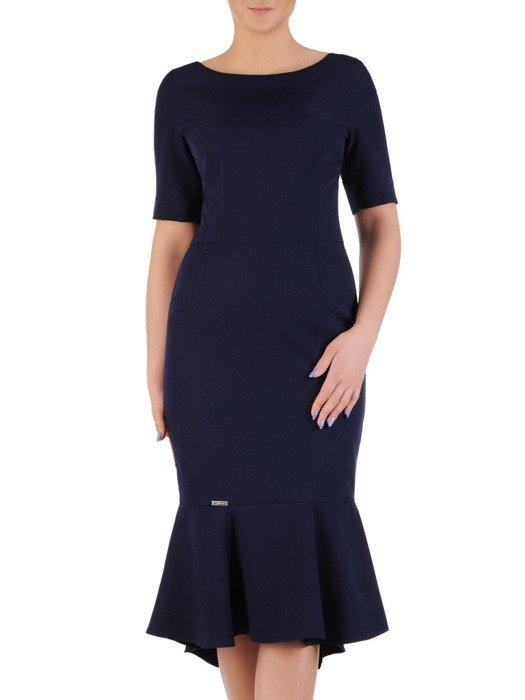 Elegancka sukienka z modną falbaną 20229, kreacja w kolorze granatowym.