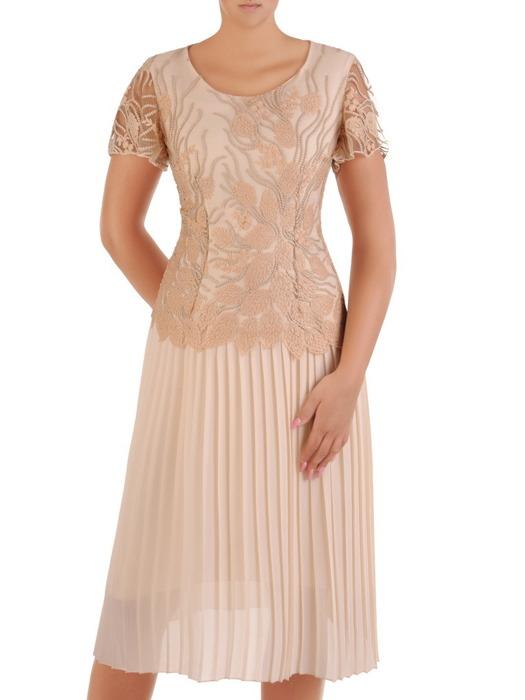 Plisowana sukienka na wesele, elegancka kreacja wykończona koronką 21151