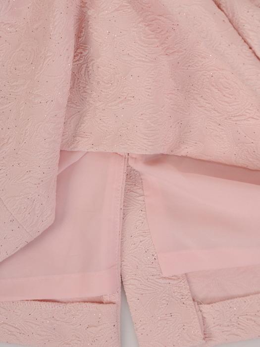 Pudrowym kostium damski, marszczona sukienka z krótkim żakietem 21872