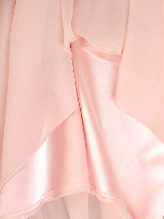 Szyfonowa sukienka z koronkowym topem, pudrowa kreacja na wesele 22001.