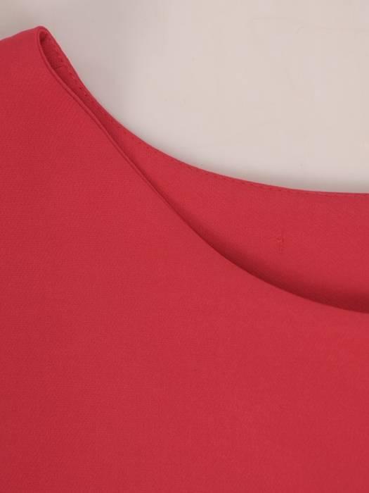 Amarantowa sukienka damska, elegancka kreacja z kokardą na plecach 27243
