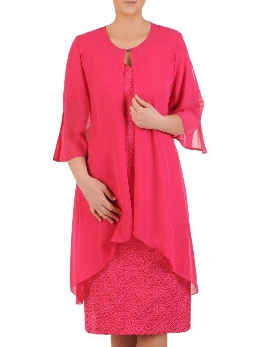 Amarantowy komplet damski, żakardowa sukienka z długą narzutką 24753