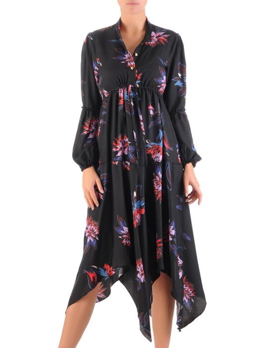 Asymetryczna sukienka w kwiaty, kreacja z podwyższonym stanem 22215