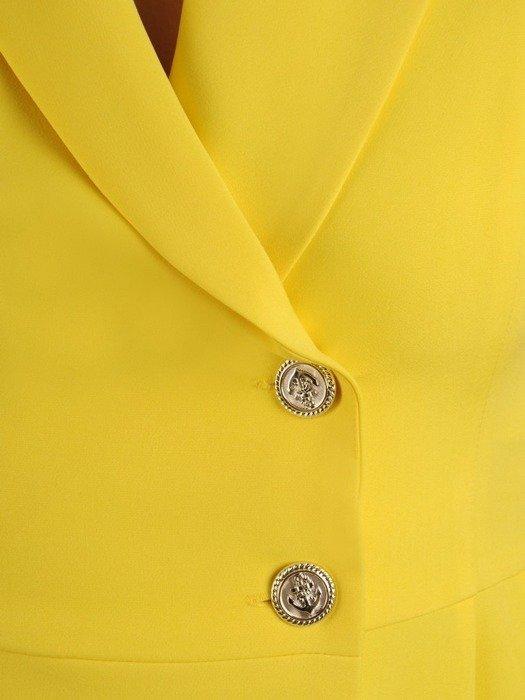 Asymetryczna sukienka z kopertową zakładką, kreacja z guzikami 25781