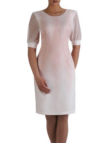 Atrakcyjna sukienka w geometryczny, wyszczuplający wzór 15156.