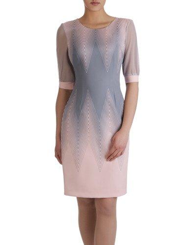 Atrakcyjna sukienka w geometryczny, wyszczuplający wzór 15157.