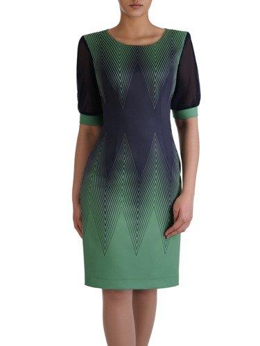 Atrakcyjna sukienka w geometryczny, wyszczuplający wzór 15159.