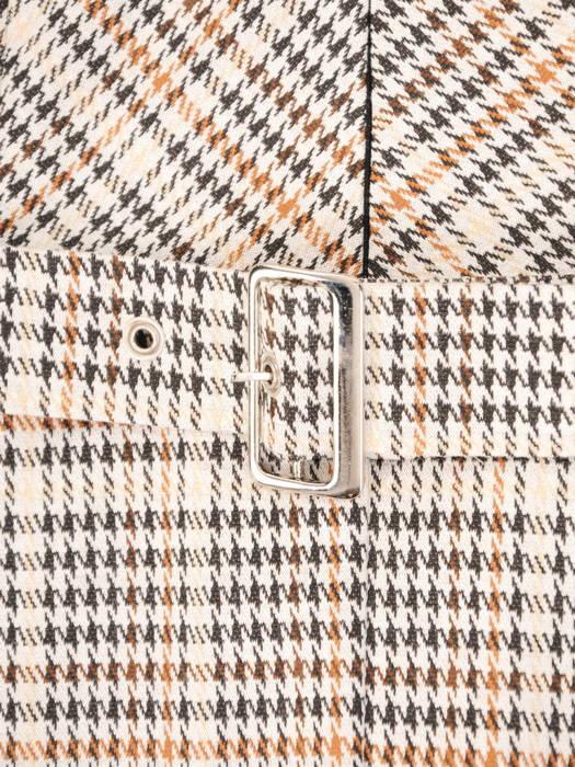 Bawełniana sukienka w kratkę, kreacja z zamkiem na dekolcie 30534