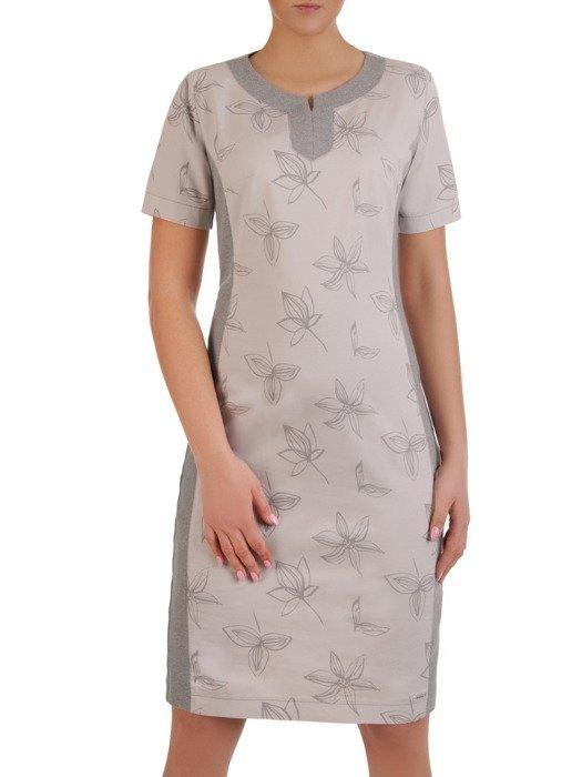 Bawełniana sukienka w kwiaty, kreacja z wyszczuplającymi wstawkami 19697