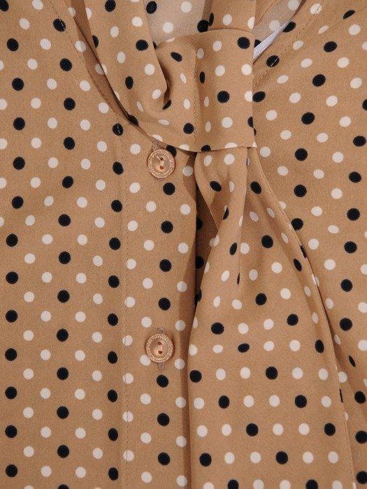 Beżowa bluzka z ozdobnym wiązaniem przy dekolcie 24465