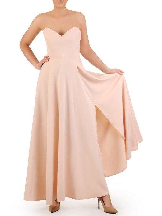 Beżowa sukienka gorsetowa, kreacja maksi 24903
