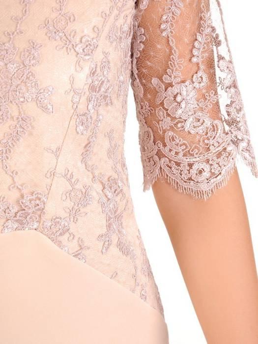 Beżowa sukienka wizytowa z tkaniny i koronki 30194