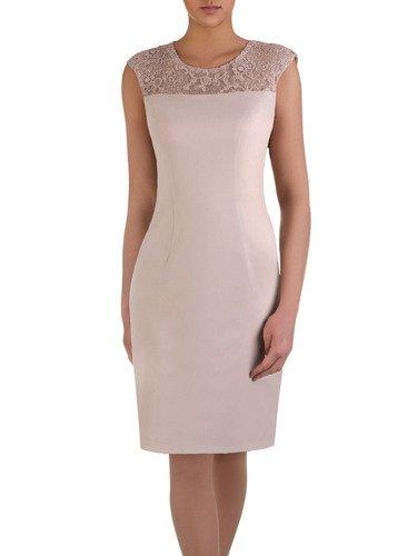 Beżowa sukienka z krótkim, koronkowym żakietem 14941.