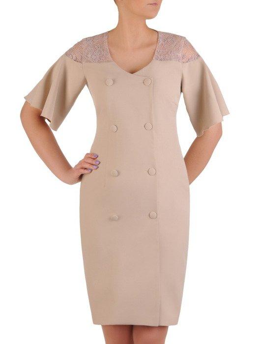 Beżowa sukienka z ozdobnym, dwurzędowym zapięciem 20437
