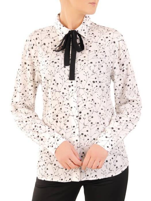 Biała koszula w delikatny, kwiatowy deseń 31173