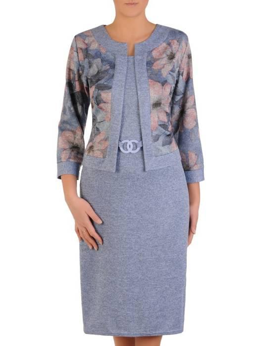 Błękitna dzianinowa sukienka, kreacja z imitacją żakietu 28157