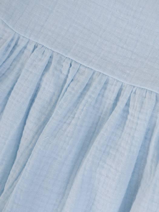 Błękitna, luźna tunika w fasonie maskującym brzuch 29800