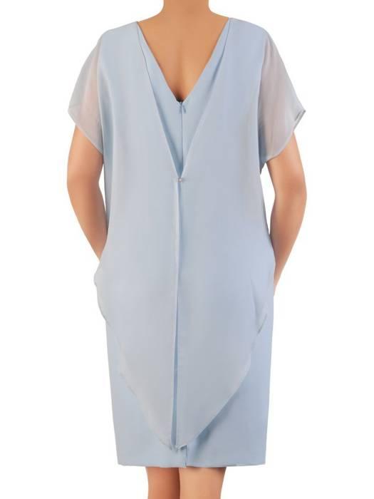 Błękitna sukienka wyjściowa z ozdobnym marszczeniem 26325