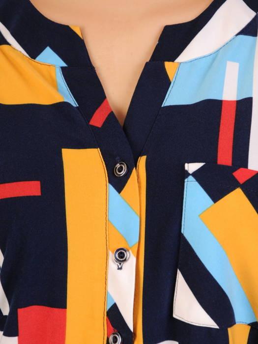 Bluzka damska z guzikami na dekolcie 30981