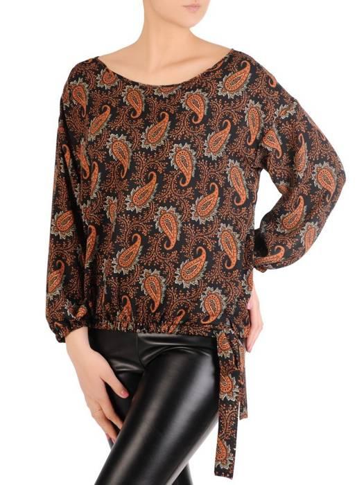 Bluzka damska z ozdobnym wiązaniem i gumkami na rękawach 29277