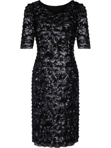 Błyszcząca suknia wieczorowa Martina, elegancka kreacja z falbankami.