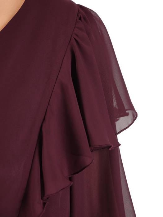 Bordowa kreacja, zwiewna sukienka z paskiem 27650