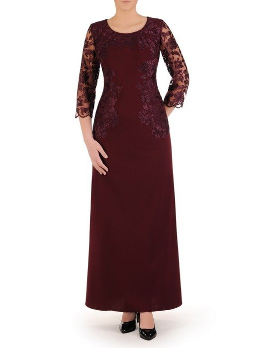 Bordowa sukienka maxi z koronkowymi rękawami 25237