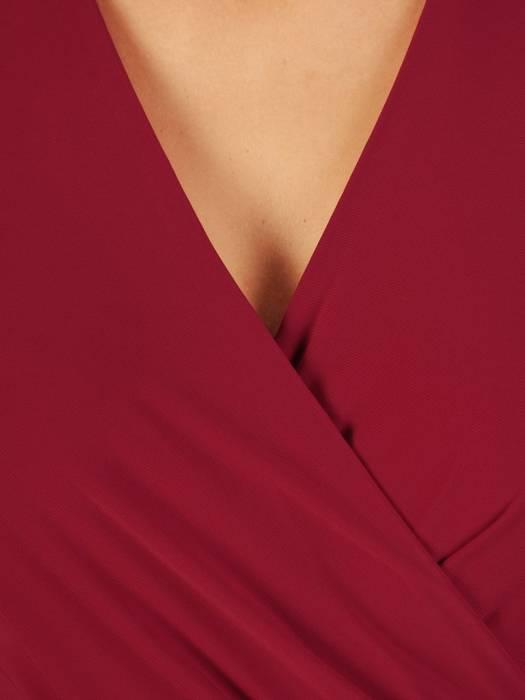 Bordowa sukienka midi, elegancka kreacja z rozcięciem 27092