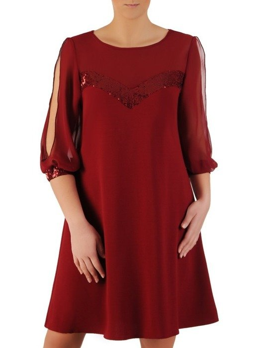 Bordowa sukienka wizytowa, kreacja z rozcięciami na rękawach 24269