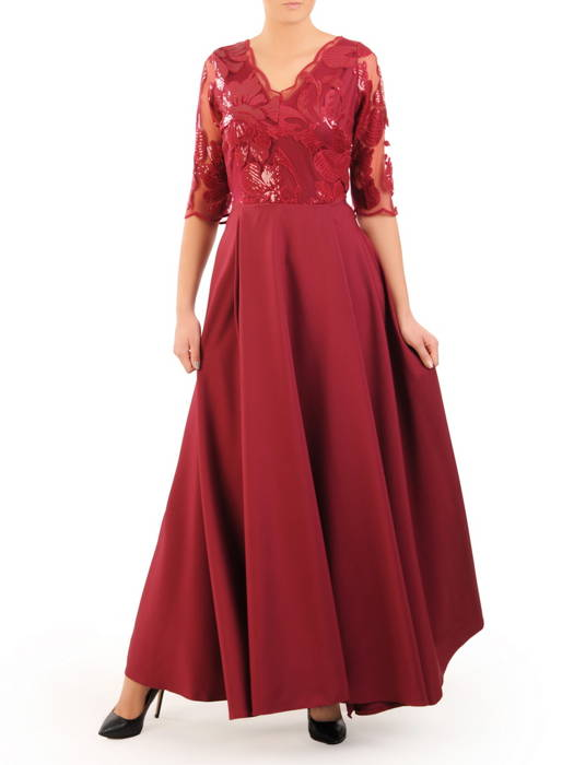 Bordowa suknia maxi, wieczorowa kreacja zdobiona cekinami 30587