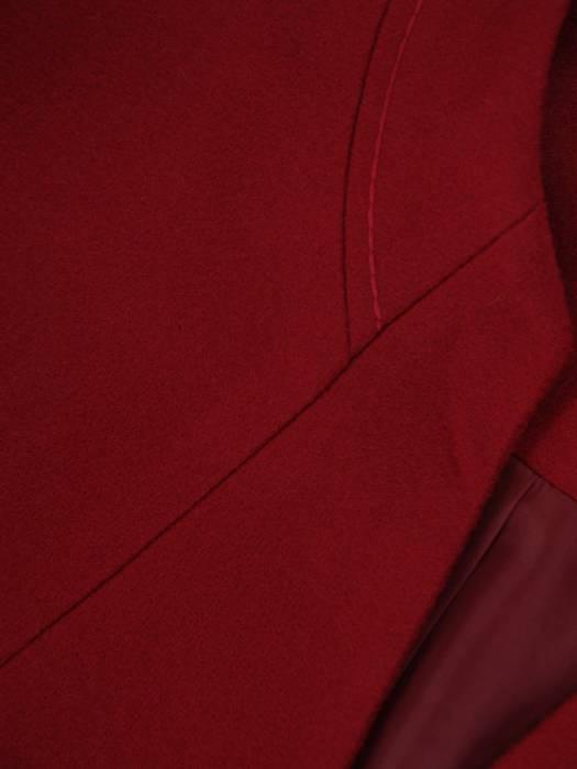 Bordowy płaszcz ze stójką 27100