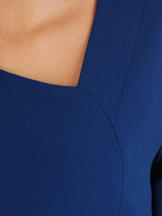 Chabrowa sukienka damska, kreacja wyjściowa z ozdobną falbaną 27312