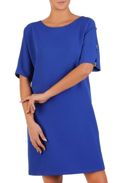 Chabrowa sukienka z ozdobnie wyciętymi rękawami 27690