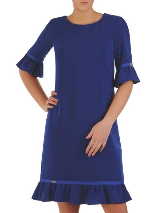 Chabrowa sukienka z ozdobnymi falbankami 28414