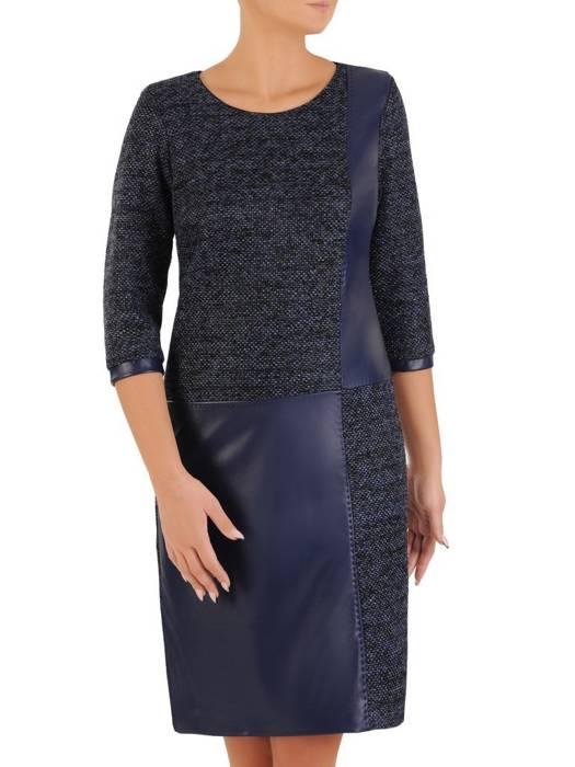 Codzienna sukienka, efektowne połączenie dzianiny z ekoskórą 27510