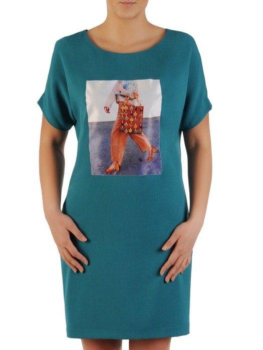 Codzienna sukienka z modną naszywką i cekinową aplikacją 24402