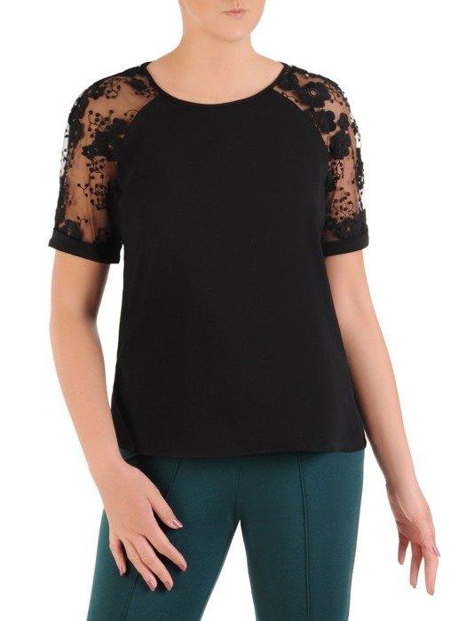 Czarna bluzka z ozdobnymi rękawami 25903