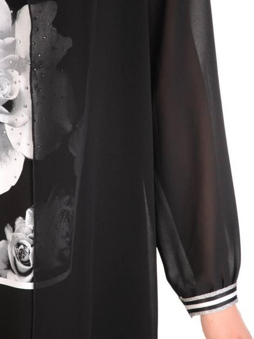 Czarna, dzianinowa sukienka z ozdobną szyfonową narzutką 29216
