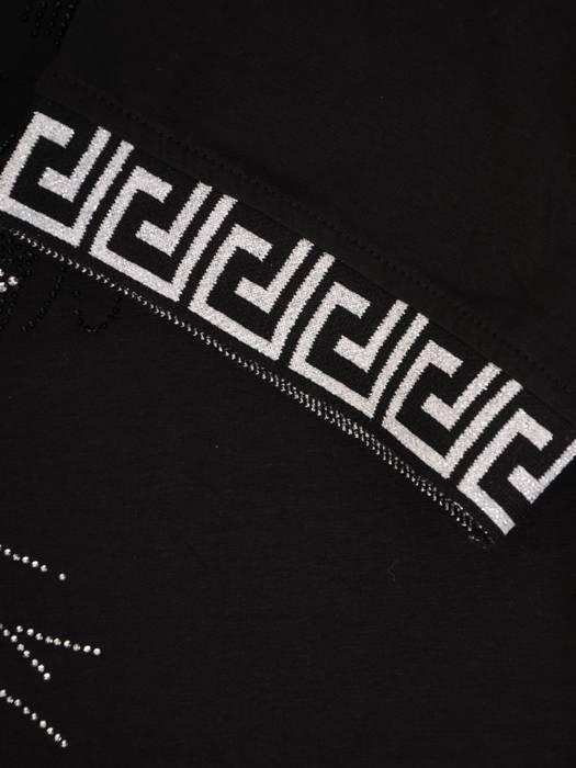 Czarna, dzianinowa tunika z ozdobnym nadrukiem 28889