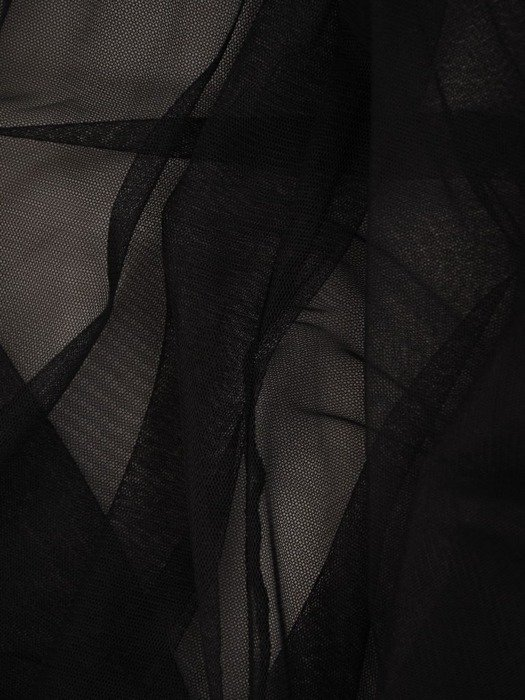 Czarna sukienka gorsetowa, kreacja z tkaniny i tiulu 24886