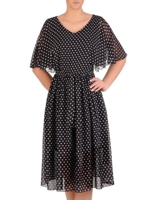 Czarna sukienka w drobne grochy, luźna kreacja z szyfonu 19864.