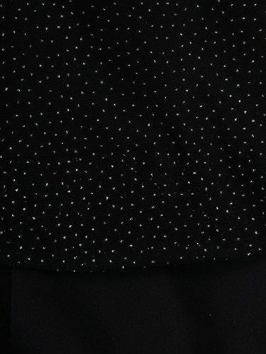 Czarna sukienka z brokatową narzutką 14319, kreacja wyszczuplająca brzuch.