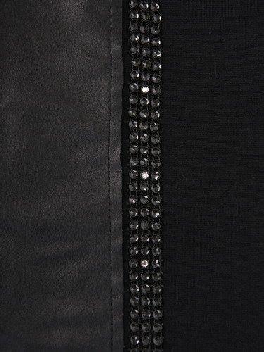 Czarna sukienka ze skórzanymi kieszeniami 14154.