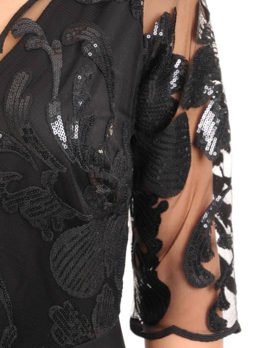 Czarna suknia maxi, wieczorowa kreacja zdobiona cekinami 30584