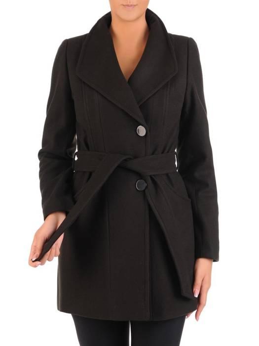 Czarny płaszcz damski z ozdobnym wiązaniem 27226