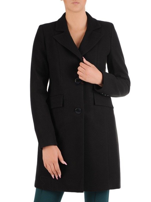 Czarny płaszcz z kołnierzem 26663
