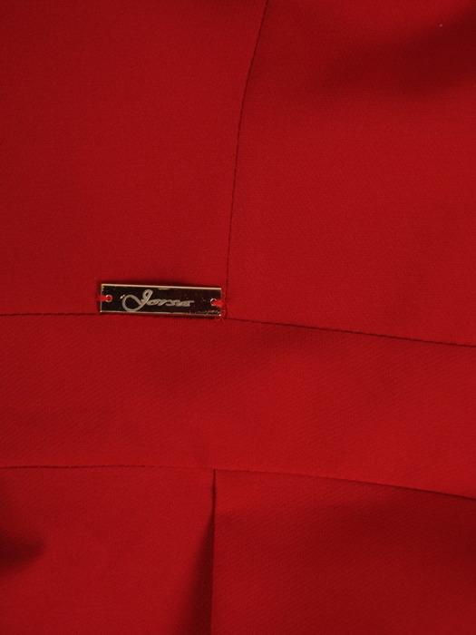 Czerwona suknia w asymetrycznym fasonie, nowoczesna kreacja na wesele 21531