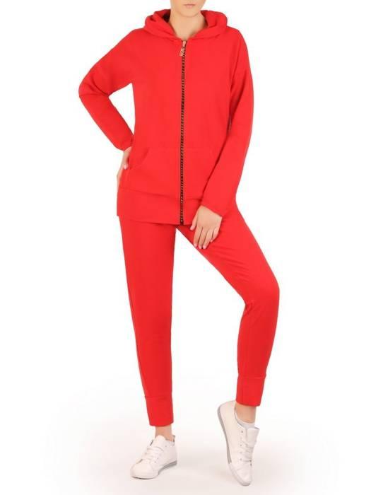 Czerwony dres damski, wygodne spodnie z bluzą zapinaną na zamek 29635