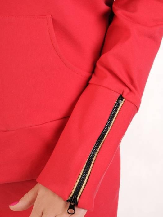 Czerwony dres z bawełny, komplet z ozdobnymi zamkami 29701