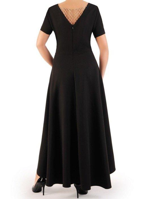 Długa sukienka kopertowa, kreacja z ozdobą na plecach 22754